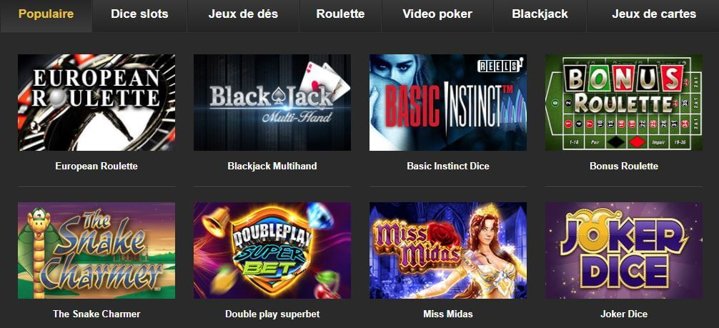 Catalogue de jeux BetFIRST Casino